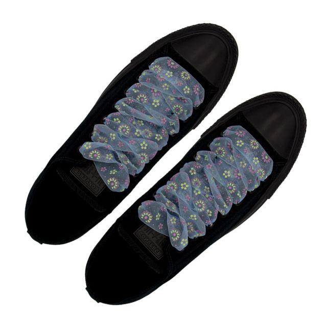 Organza Floral Fashion Shoelaces - Light Blue 120cm Length 2.5cm Width Flat