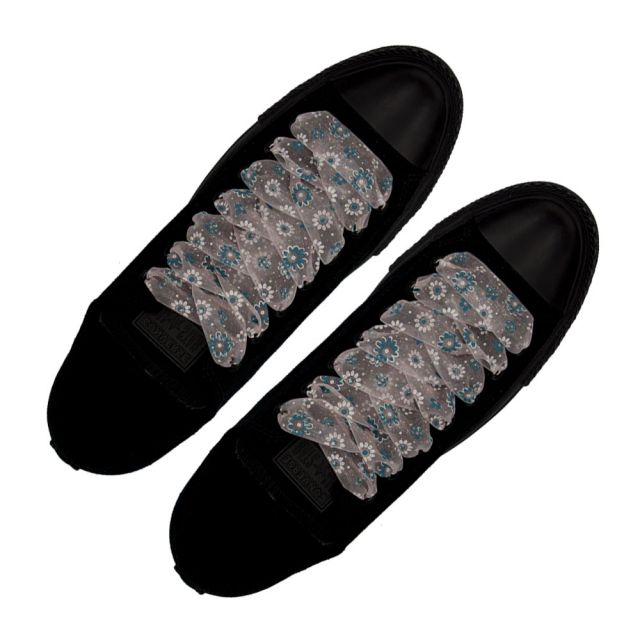 Organza Floral Fashion Shoelaces - Light Pink 120cm Length 2.5cm Width Flat