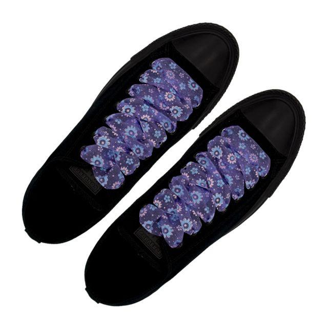 Organza Floral Fashion Shoelaces - Violet 120cm Length 2.5cm Width Flat