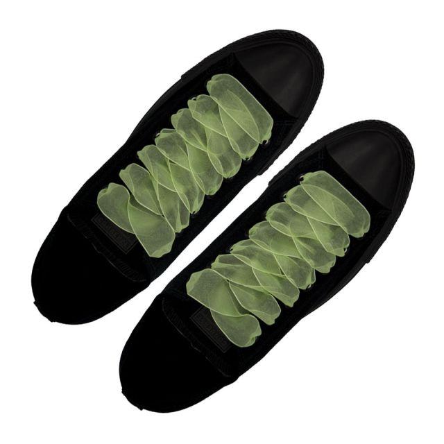 Fluro Light Green Organza Shoelaces