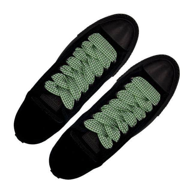 Plaid Shoelace Checkered Medium - Green Flat Length 120cm Width 2.5cm