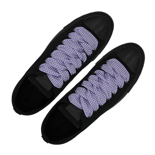 Plaid Shoelace Checkered Medium - Purple Flat Length 120cm Width 2.5cm