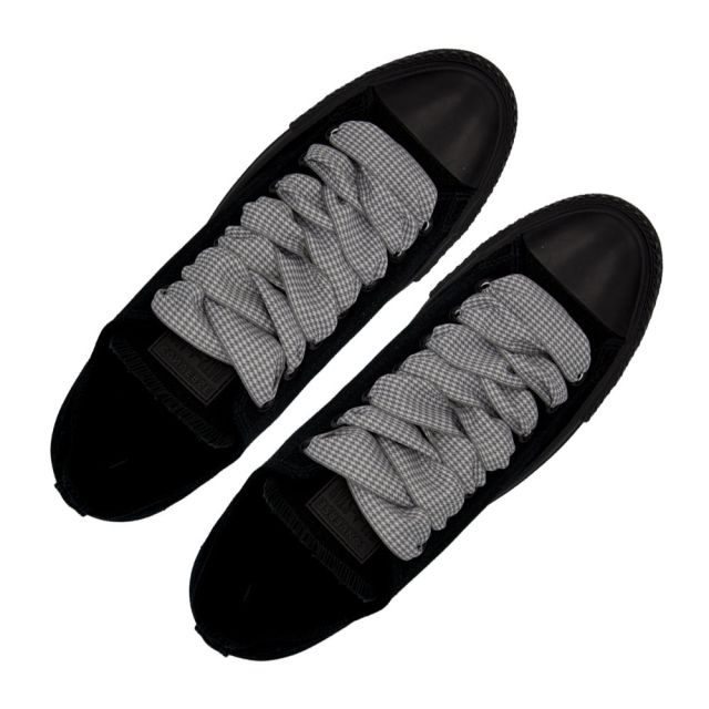 Plaid Shoelace Checkered Small - Grey Flat Length 120cm Width 2.5cm