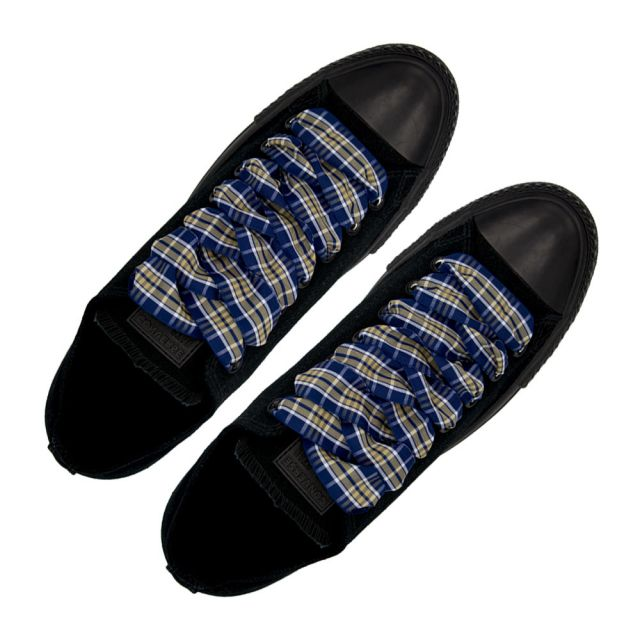 Plaid Shoelace Stripe - Blue Light Brown White Flat Length 120cm Width 2.5cm