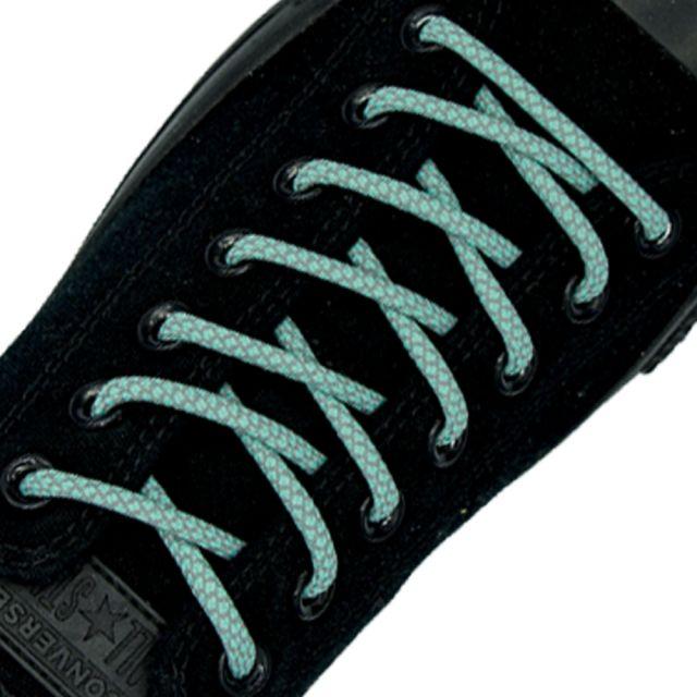 Reflective Shoelaces Round Aqua 100 cm - Ø5mm Cross