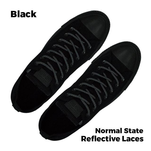 Reflective Shoelaces Round Black 100 cm - Ø5mm Cross