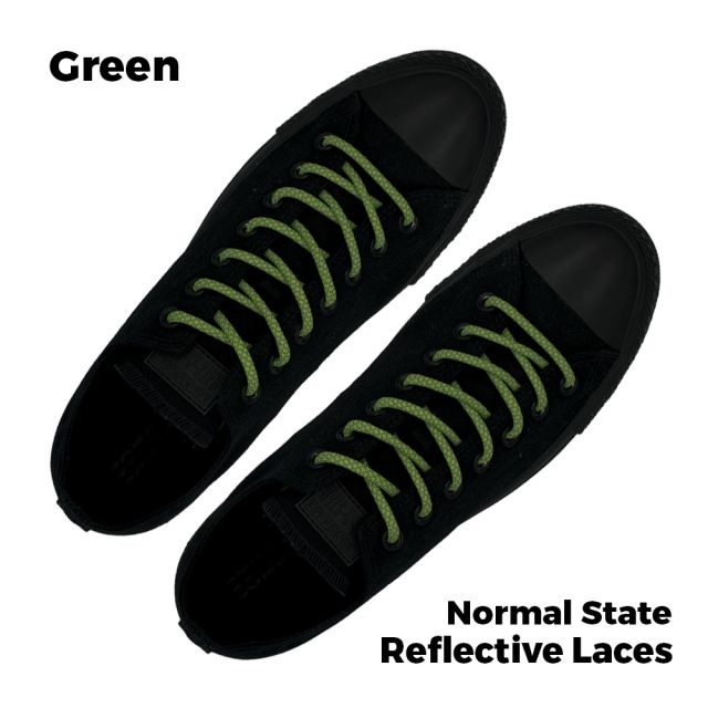 Reflective Shoelaces Round Green 100 cm - Ø5mm Cross