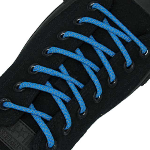 Reflective Shoelaces Round Light Blue 100 cm - Ø5mm Cross
