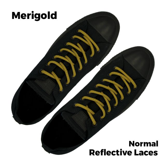 Reflective Shoelaces Round Merigold 100 cm - Ø5mm Cross