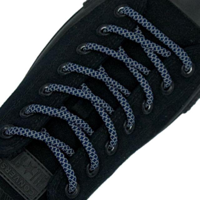 Reflective Shoelaces Round Navy Blue 100 cm - Ø5mm Cross