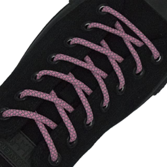 Reflective Shoelaces Round Pink 100 cm - Ø5mm Cross