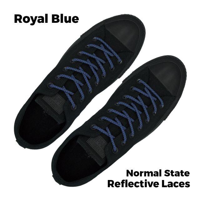 Reflective Shoelaces Round Royal Blue 100 cm - Ø5mm Cross