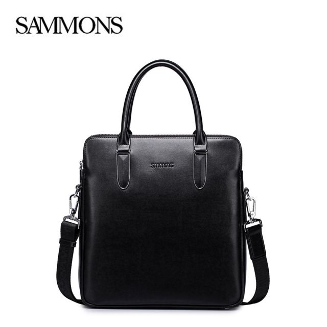 Black Leather Business Bag - Sammons Bags - Front