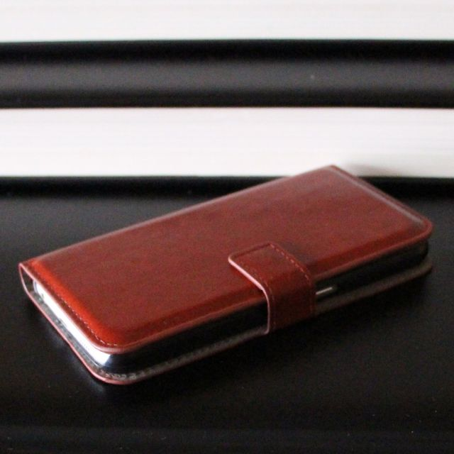 Samsung Galaxy S6 - Classic Brown Leather Case Wallet Front Side