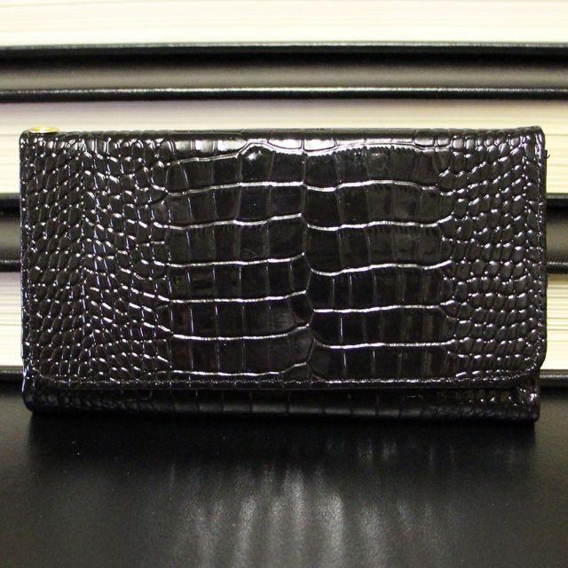 Samsung Galaxy Edge S7 - Croco Pattern Black Leather Wallet Case Front