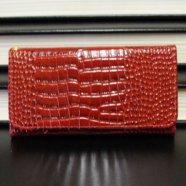 Samsung Galaxy Edge S7 - Croco Pattern Dark Red Leather Wallet Case Front