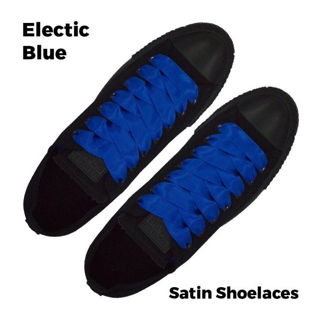Satin Ribbon Shoelaces Flat Electric Blue - 100cm Length - 2cm Width