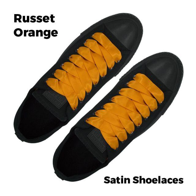 Satin Ribbon Shoelaces Flat Russet Orange - 100cm Length - 2cm Width