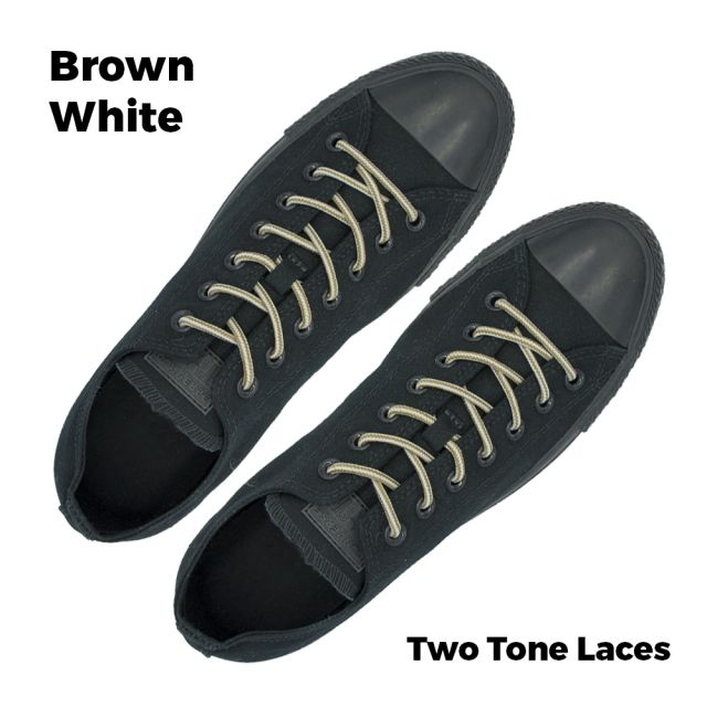 Two Tone Bootlace Shoelace Brown White 100cm - Ø4mm