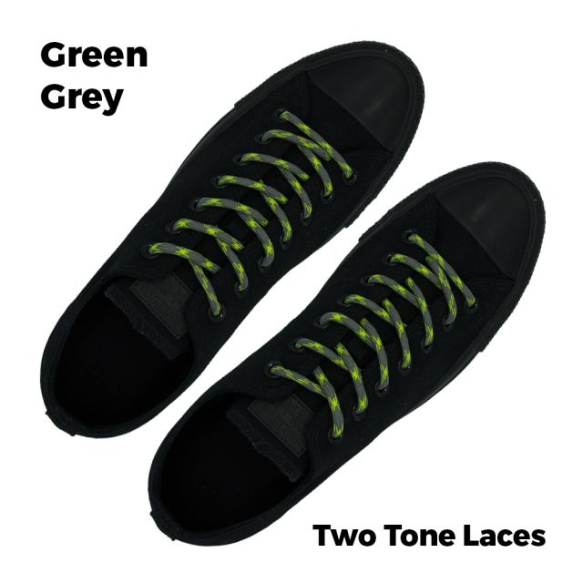 Two Tone Bootlace Shoelace Green Grey 100cm - Ø5mm
