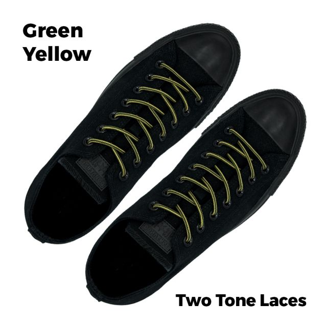 Two Tone Bootlace Shoelace Green Yellow 100cm - Ø4mm