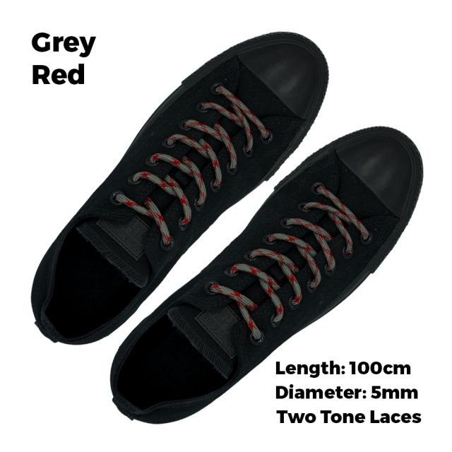 Two Tone Bootlace Shoelace Red Grey 100cm - Ø5mm