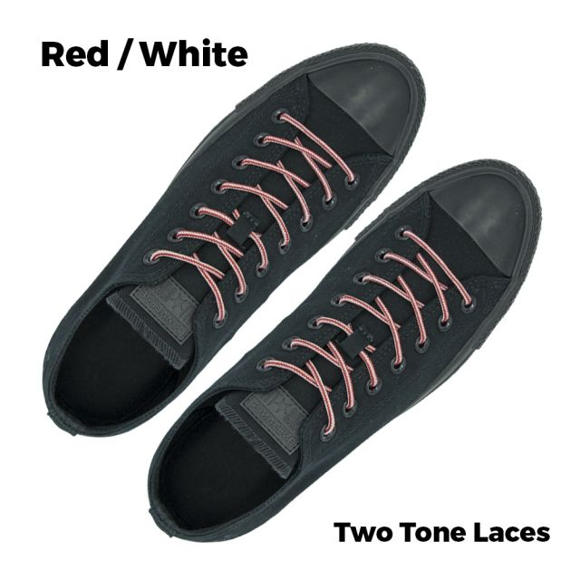 Two Tone Bootlace Shoelace Red White 100cm - Ø4mm