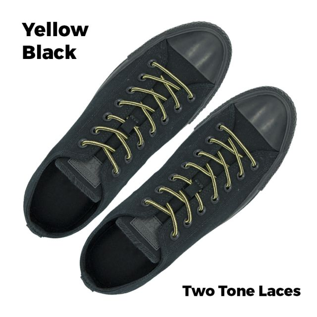 Two Tone Bootlace Shoelace Yellow Black 120cm