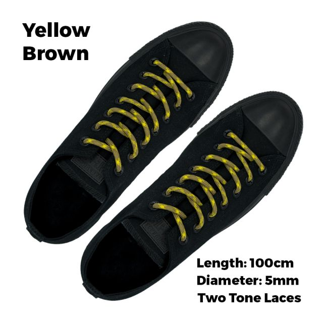 Two Tone Bootlace Shoelace Yellow Brown 100cm - Ø5mm