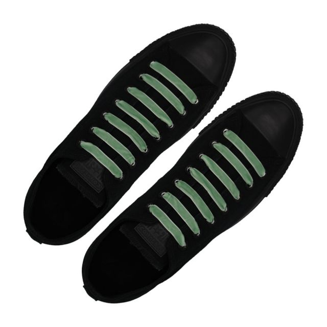 Velvet Ribbon Shoelaces - Light Green L: 80cm W: 1cm