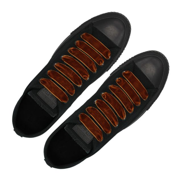 Velvet Ribbon Shoelaces - Brown L: 80cm W: 1.5cm Coolnice