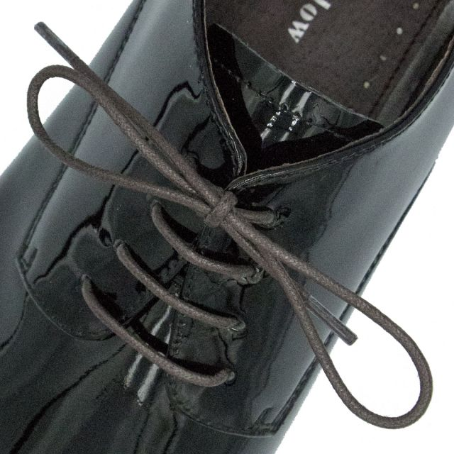 Waxed Cotton Dress Shoelaces - Dark Brown 60cm Length 2mm Round