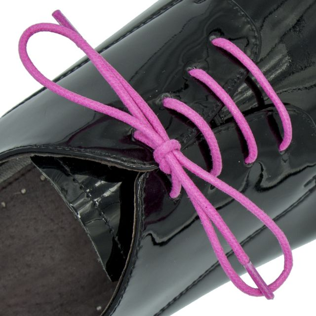 Waxed Cotton Dress Shoelaces - Pink 60cm Length 2mm Round