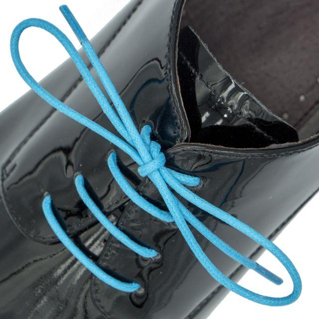 Waxed Cotton Dress Shoelaces - Sky Blue 60cm Length 2mm Round