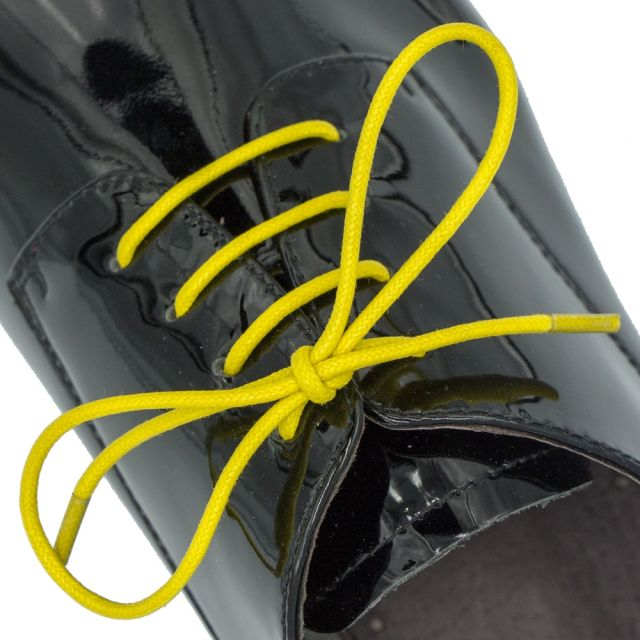 Waxed Cotton Dress Shoelaces - Yellow 60cm Length 2mm Round