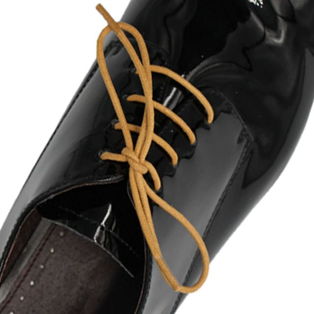 Waxed Cotton Dress Shoelaces - Light Brown 60cm Length 2mm Round