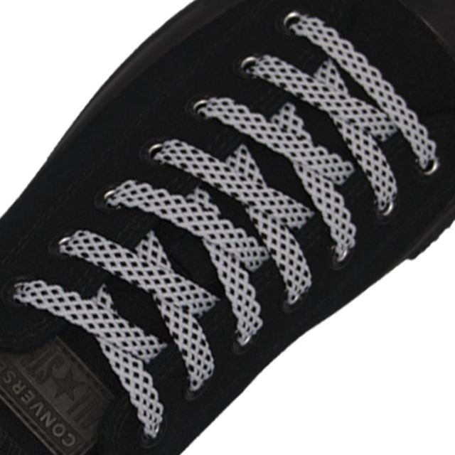 Spotted Shoelace - White with Black Spots Flat Length 120 cm Width 1cm
