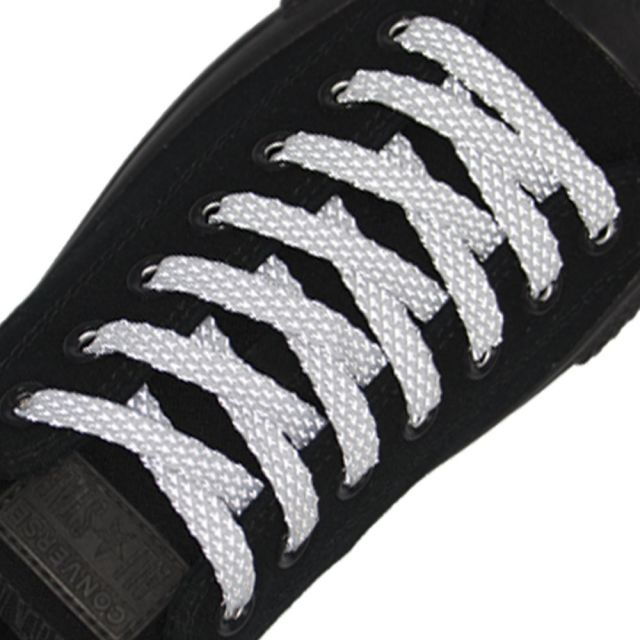 Reflective Shoelaces Flat White 120 cm