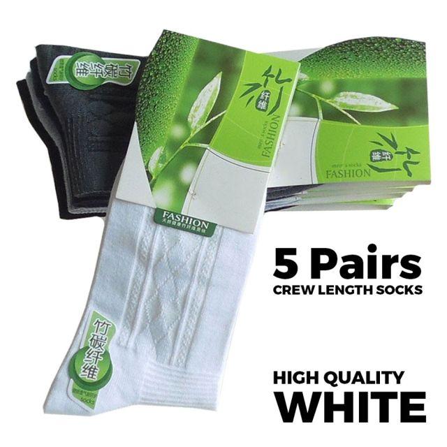 Crew Length Socks White - 5 Pairs Main