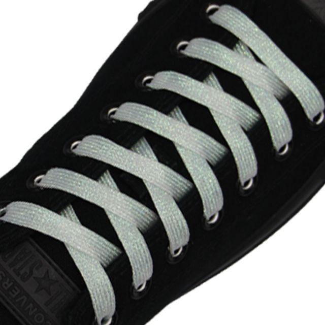 Glitter Shoelace - White 50cm Length 10mm Width