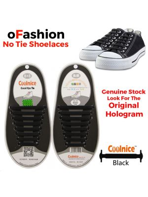 No Tie Shoelaces Silicone Black 16 Pieces Shoes - Original Banner