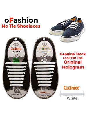 No Tie Shoelaces Silicone White 16 Pieces - Original
