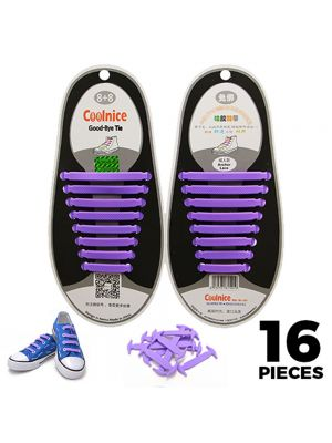 No Tie Shoelaces Silicone - Purple 16 Pieces for Adults