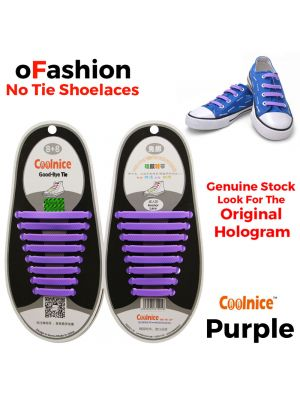 No Tie Shoelaces Silicone Purple 16 Pieces Main