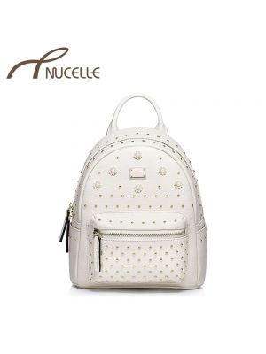 Studded Peral White Leather Backpack - Nucelle Backpack - Front