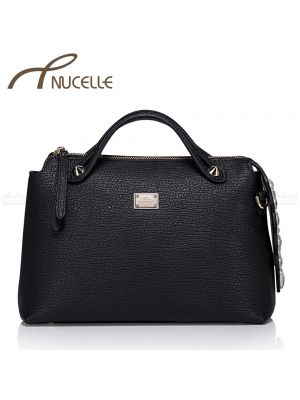 Boston Black Leather Tote Bag - Nucelle Handbags - Front