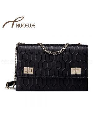 Black Chain Leather Messenger Bag - Nucelle Handbags - Front