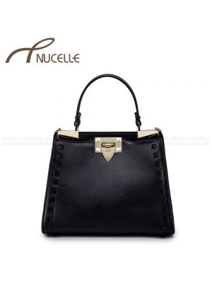 Black Rivet Kitten Leather Tote Bag - Nucelle Handbags - Front