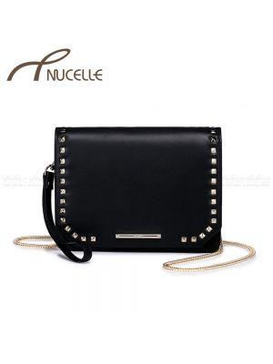 Black Studed Messenger Bag - Nucelle Handbags - Front