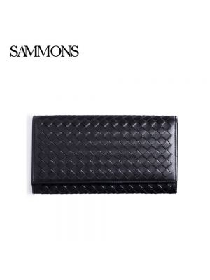Black Weavon Leather Long Button Mens Wallet - Sammons Wallet - Front